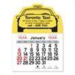 "Taxi Peel-N-Stick® Calendar - Taxicab-shaped Peel-N-Stick® 12-month calendar in 4""H x 3""W or 5-3/4""H x 3""W sizes and assorted colors."