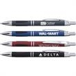 Vienna™ Comfort Pen - Metallic, click-action pen with a rubberized finish, teardrop grippers, black ink and silver trim.