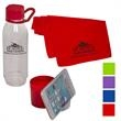 Multi-functional Water Bottle Phone Stand with Towel - Flexible neoprene-covered PE plastic water bottle holds approx. 25 oz.