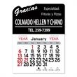"""Gracias Peel-N-Stick® Calendar - Spanish thank you-themed Peel-N-Stick® 12-month calendar in 4""""H x 3""""W or 5-3/4""""H x 3""""W sizes and assorted colors."""