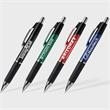 Consuelo™ Pen - Plunger action ballpoint pen with bright chrome accents, jumbo barrel, ribbed rubber ergonomic grip and hybrid black antifraud ink
