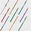 Foiled Foreman Pencil - Promotional #2 wooden pencil with swirling color choices, a gold ferrule and pink eraser.