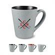 16 oz. Fleck & Timbre Ceramic Mug - 16 oz. (473 mL) Ceramic mug with angular body and flecked gray exterior (color interior). Features glossy color interior.