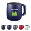 15 oz. Geo Square Handle Ceramic Mug - 15 oz. (443 mL) Ceramic mug with square handle. Features matte finish on exterior with glossy gray interior. Made of 100% Ceramic.