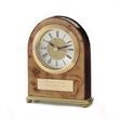 """Palermo Clock - 5 1/8"""" x 4 1/4"""" x 1 1/2"""" desk clock designed with a traditional arch shape accentuated with burl wood and brass accents."""