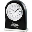 "Marseilles Clock - 1/4"" x 4"" x 1 1/2"" Marseilles lustered black piano wood desk clock with a metal base, quartz movement, and Roman numerals."