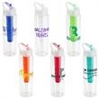 "Trekker 32 oz PET Chiller Bottle with Flip-Up Lid - 3"" x 3"" x 11"" Trekker 32-ounce thermoplastic chiller bottle with flip-top lid and carrying handle. FDA approved, BPA free."