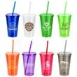 """Trifecta 16 oz Tumbler with Lid  Straw - 3.375"""" x 3.375"""" x 5.75"""" Trifecta 16-ounce thermoplastic double-wall insulated tumbler with lid and straw. FDA approved and BPA fre"""