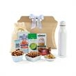 Sidney Sip & Snack Gift Tote - Eco-friendly tote bag filled with a double wall stainless bottle and selection of gourmet snacks in a reusable drawstring bag.