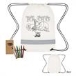 Lil' Bit Reflective Coloring Drawstring Bag With Crayons - Coloring drawstring bag made of 80 gram non-woven, coated water-resistant polypropylene with a six-pack of crayons.