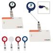 """Retractable Badge Holder With Laminated Label - Badge holder with 24"""" retractable cord and white laminated label."""