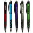 Villa Park MGC Stylus Pen - Retractable ballpoint pen with matte metallic colored barrel, black rubber grip, black ink and chrome ferrule and plunger.