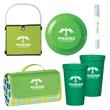 Deluxe Picnic In The Park Kit - Kit with a blanket, cups, discus, a picnic basket, and a 2-in-1 sunscreen / hand sanitizer spray.