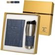 Casablanca™ Journal & Tumbler Gift Set - Gift set with journal containing 80 ruled pages and stainless steel insulated 16 oz. tumbler with drink-through lid