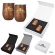 12 Oz. Woodgrain Alexander Stemless Wine Cup Gift Set - Two 12 oz. woodgrain Alexander stemless wine cups together in one gift set.