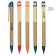 Eco-Inspired Pen - Eco-friendly pen with paper barrel, wooden clip and plunger action.