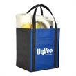 """Large Non-Woven Grocery Tote w/ Pocket - Large non-woven grocery tote bag with pocket and featuring 22"""" reinforce."""