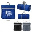 Frequent Flyer Foldable Duffel Bag - Frequent Flyer Foldable Duffel Bag. Made Of 210D Honeycomb Polyester. Front Zippered Pocket. Web Carrying Handle.