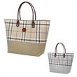 Tartan Jute Tote Bag - Tartan jute tote bag with a leatherette patch and handles that elevate this to a whole new level of fashion.