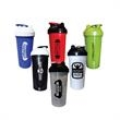 Double Sided Fitness Shaker Bottle - 27 ounce double-sided plastic fitness shaker bottle with leak proof seal, lid, spout and cyclone filter.