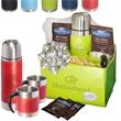 Tuscany™ Thermal Bottle & Cups Ghirardelli® Cocoa Set - Gift set of Tuscany™ thermos, two coffee cups, two packets of Ghirardelli hot chocolate in a Venezia™ folding bin.