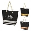 """Metallic Accent Rope Tote Bag - Metallic accent tote bag with a magnetic snap closure, inside pocket, and 22"""" rope handles."""