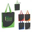 "Non-Woven Tote Bag With Accent Trim - Non-Woven Tote with Accent Trim.  Made of 80 Gram Non-Woven, Coated Water-Resistant Polypropylene. 17"" Handles. Spot Clean/Air Dry"