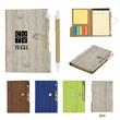 """4"""" X 6"""" Woodgrain Look Notebook With Sticky Notes And Flags - Notebook with a woodgrain look that has sticky notes, tape flags, a matching pen and a 70-page lined note pad"""