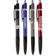 Varsala™ Pen - Plunger action ballpoint pen with shining chrome accents, black rubber grip and bold black ink