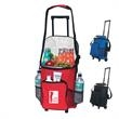 18 Can Rolling Cooler - Polyester, 18 can rolling cooler with front storage pocket.