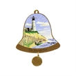 Ornament - Goldtone enamel bell shaped ornament with lighthouse design and dated clapper.