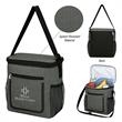 """Slade Cooler Lunch Bag - 9"""" x 9 1/2"""" x 5 1/4"""" gray lunch bag made of polyester and PVC with a PEVA lining"""