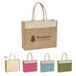 """Jute Tote Bag With Front Pocket - Jute Tote with Front Pocket.  Made from 100% Pure Natural Jute, A Natural Vegetable Fiber.  22"""" Padded Cotton Rope Handles."""