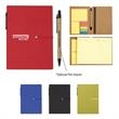 Notebook With Sticky Notes And Pen - 70-page lined notebook with sticky notes, adhesive flags, and a matching pen