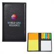 Leather Look Padfolio With Sticky Notes & Flags - Leather look padfolio with sticky note pads and flags.