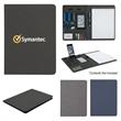 """8 1/2"""" x 11"""" Heathered Padfolio - Polyester heather padfolio with 30 lined pages and various slots for multimedia organization."""