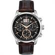 Bulova Men's Strap Watch - Sutton Big Date Collection - Six-hand chronograph with silver tone stainless steel case and brown leather strap.