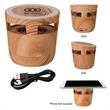Woodgrain Wireless Charging Pad And Speaker - Woodgrain wireless charging pad and speaker with a micro-USB cord, LED indicator light, and non-slip bottom.