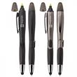 BLOSSOM-STYLUS 3-IN-1 BALLPOINT PEN/HIGHLIGHTER/STYLUS - Plastic slide action pen with ballpoint, highlighter and capacitive stylus point.