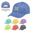 Heathered Jersey Cap - 100% jersey knit baseball cap with six panels, pre-curved visor and adjustable self-material strap with hook and loop closure