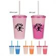 """16 Oz. Econo Color Changing Tumbler - 16 Oz. Econo Color Changing Tumbler. Polypropylene Material.  Snap-On, Spill-Resistant Lid With Matching 9"""" Straw.  BPA Free."""