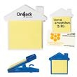 House Clip With Sticky Notes - House clip with self-adhering notes and magnet on back side.