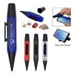 Desk Assistant Pen - Twist-action desk assistant pen with clips, a screen cleaner, pencil sharpener, and phone stand.