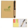 Eco-Inspired Notebook With Pen - Eco-friendly notebook with pen, sticky flags, and sticky notes.