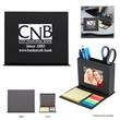 Desk Caddy With Photo Window - Desk caddy in black or gray with a photo window and fold-down area with sticky notes and flags.