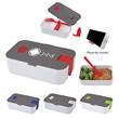 Lunch Set With Phone Holder - Lunch set with plastic fork, divider, steam vent, lid with snaps, and a phone holder.