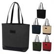 Channelside Tote Bag - Channelside tote bag with a leatherette patch and long handles that elevate this to a whole new level of fashion.