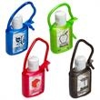 Cool Clip Hand Sanitizer - Gel hand sanitizer in colored rubber tagalong case; .50 oz of antibacterial gel.