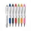 SILVER BLOSSOM BALLPOINT PEN/HIGHLIGHTER - Plastic slide-action combination ballpoint pen and highlighter in assorted colors and shades.