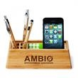 BAMBOO DESKTOP ORGANIZER - Bamboo organizer for the desktop holds writing instruments, smartphones, business cards and more.